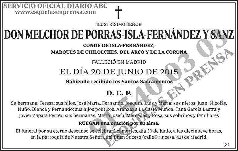 Melchor de Porras-Isla-Fernández y Sanz